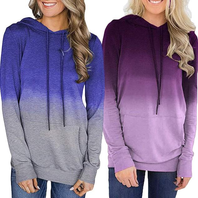 Super Soft Tie-Dye Ombre Hoodie Shirt