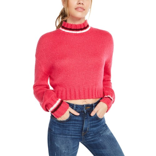 Planet Gold Juniors' Turtleneck Cropped Sweater Pink Size Large