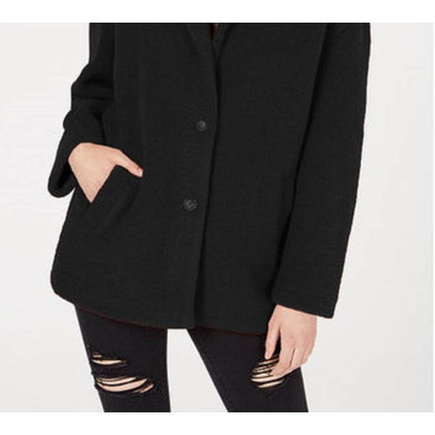 Collection B Juniors' Faux-Fur Coat Black Size Large