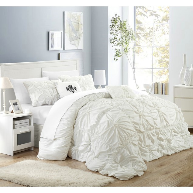 Chic Home Halpert Floral Pinch-Pleat Embellished Comforter Set