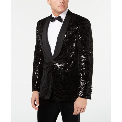 Tallia Men's Slim-Fit Black Sequined Velvet Dinner Jacket Black Size 54