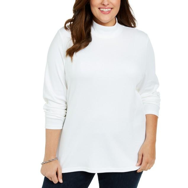 Karen Scott Women's Cotton Mock Neck Sweater White Size 2X