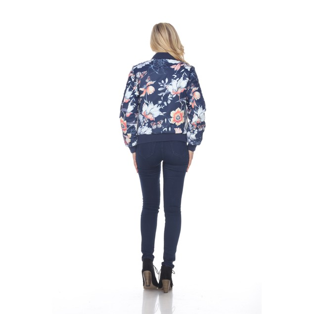 Floral Bomber Jacket - 3 Colors - Extended Sizes