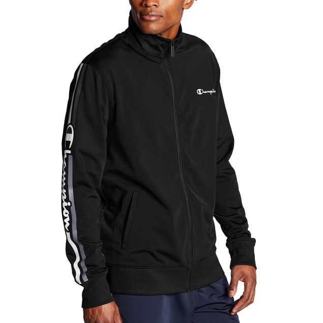 Champion Men's Logo-Stripe Track Jacket Navy Size Extra Large