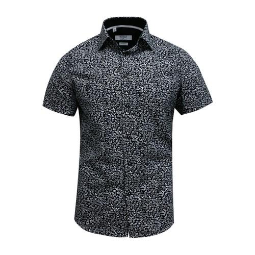 Monza Modern Fit Short Sleeve Black Navy Floral Dress Shirt