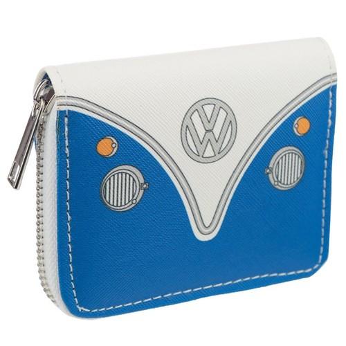 Volkswagen VW T1 Camper Bus Blue Zip Around Small Wallet Purse