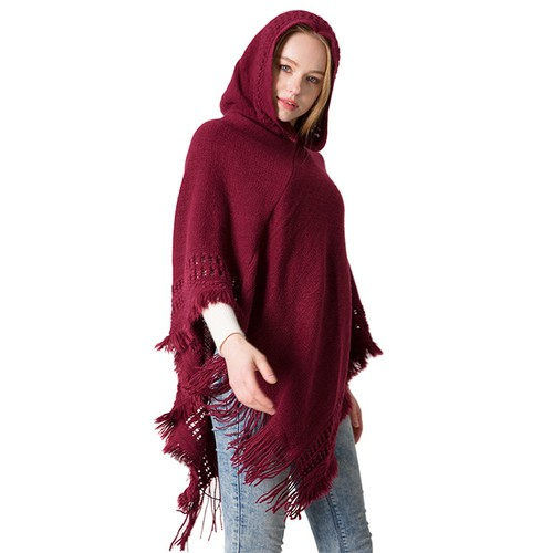 Knitted Hooded Cloak Shawl Monochrome Pullover