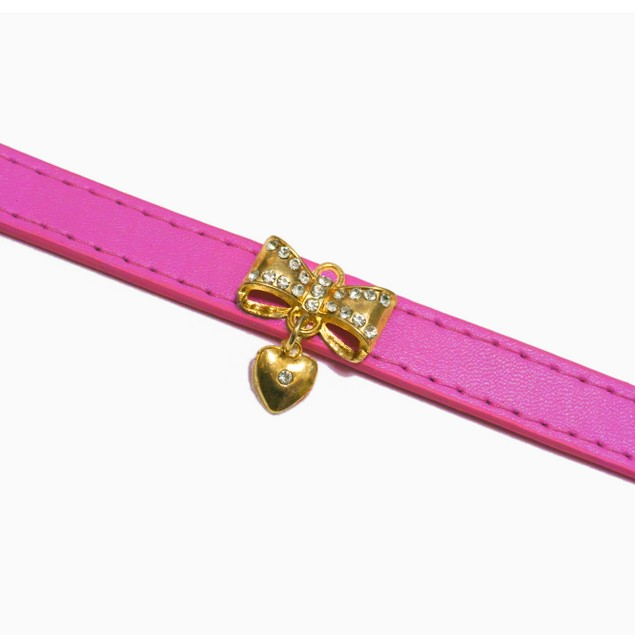 Leather Collar for Dogs & Cats. Diamond Bow Pendant