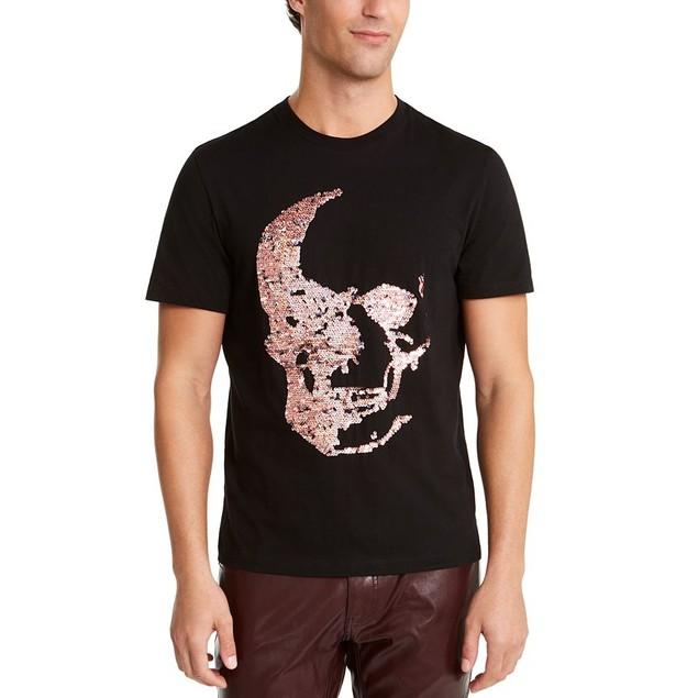 INC International Concepts Renew Sequin Skull T-Shirt Deep Black 2XL