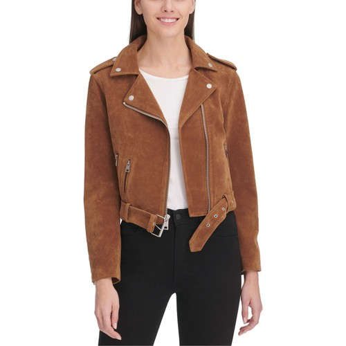 Levi's  Women's Belted Faux Suede Moto Jacket Brown Size Medium