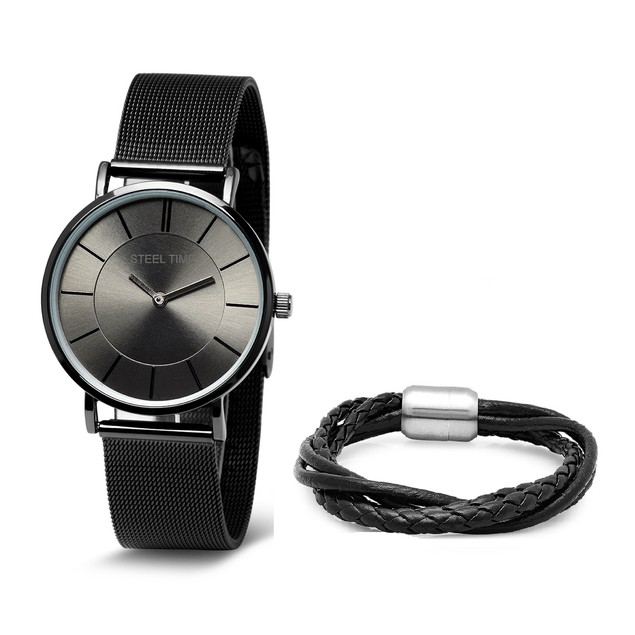 Bracelet & Watch Set W/  Genuine Leather Wrap Bracelet In Black