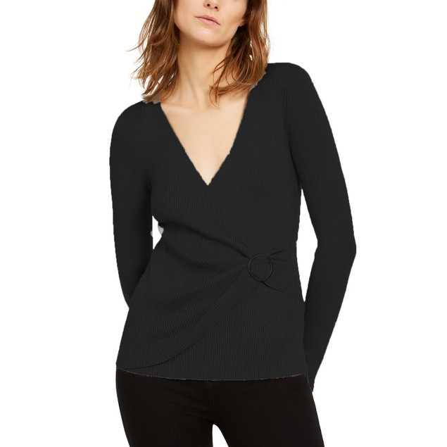 INC International Concepts Wo Lurex V-Neck Buckle Sweater Black 2XL