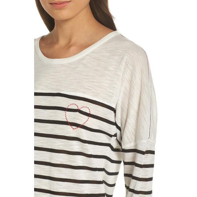 PJ Salvage Women's Stripe Lounge Long Sleeve Crewneck Top, S, True Love