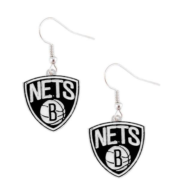Brooklyn Nets NBA Dangle Logo Earring Set