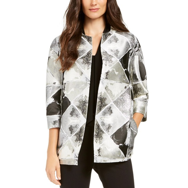 Anne Klein Women's Metallic Open-Front Jacket Gray Size Large