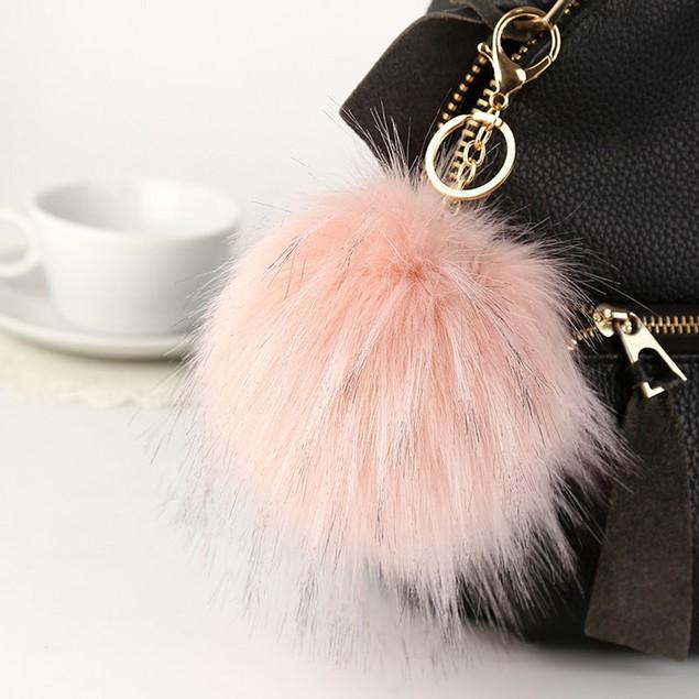 13cm Fur Fluffy Pompom Ball Handbag Car Pendant Charm Key Chain Keyrings