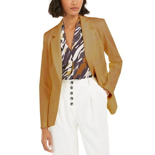 Bar III Women's One-Button Blazer  Brown Size 8