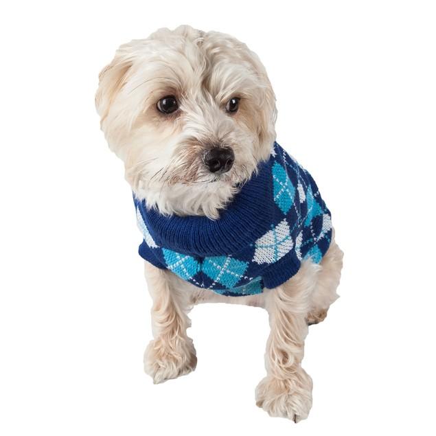 Argyle Style Ribbed Fashion Pet Sweater
