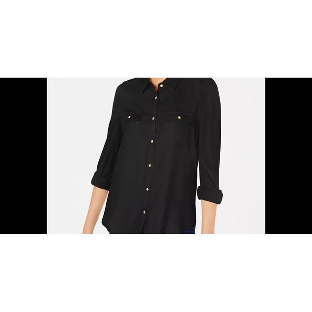 Ultra Flirt Junior's Mixed Media Utility Shirt Black Size Small