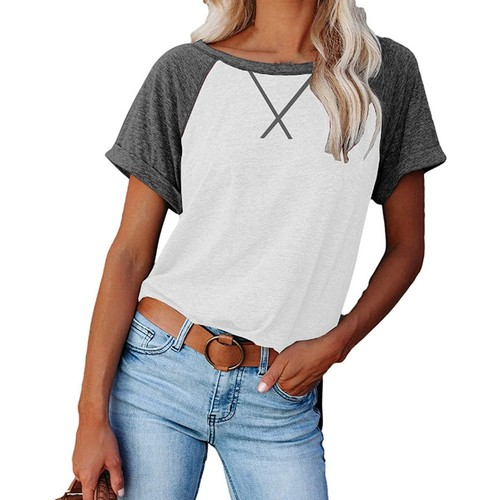 Haute Edition Women's Cross Stitch Contrast Raglan Short Sleeve Tee