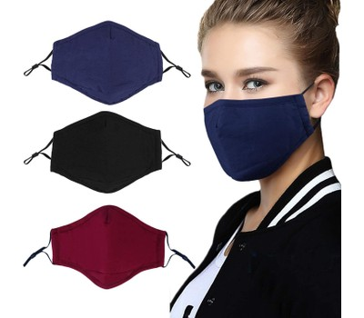 {3-Pack} Cotton Reusable Washable Adjustable Face Masks with Filter Pocket Was: $49.99 Now: $15.99.