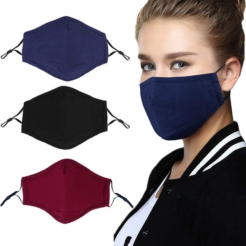 {3-Pack} Cotton Reusable Washable Adjustable Face Masks with Filter Pocket