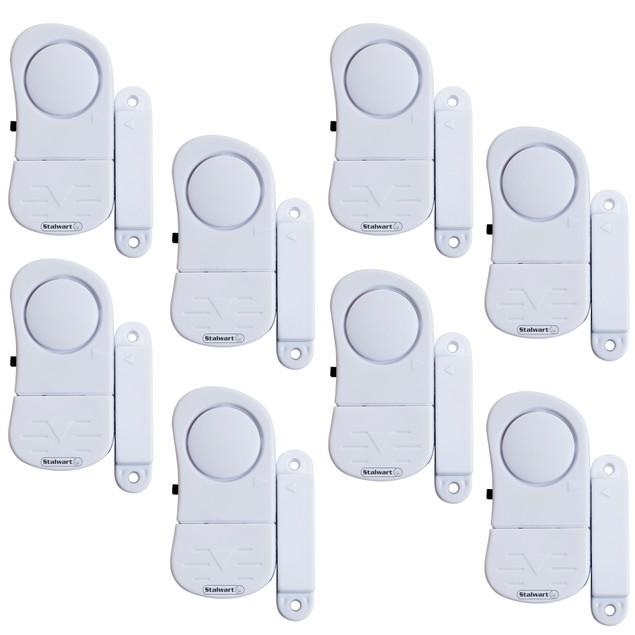 Stalwart 8 Piece Mini Window Security System Alarm Set - Wireless
