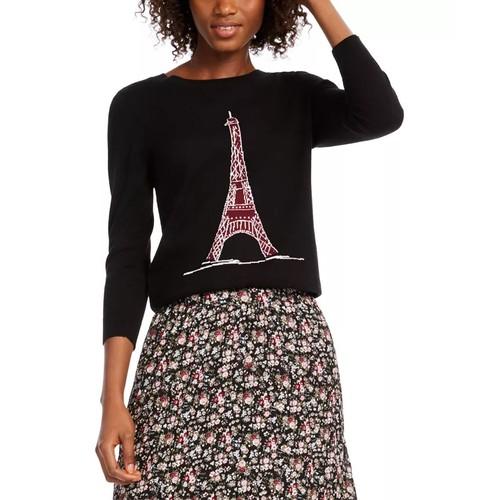 Maison Jules Women's Eiffel Tower Sequin Sweater Black Size Extra Large
