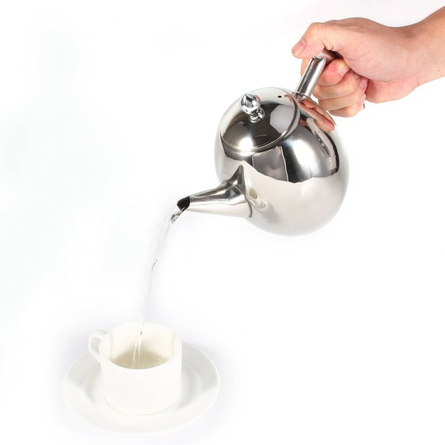 1L Stainless Steel Teapot Coffee Pot Water Kettle With Filter Large Capacity