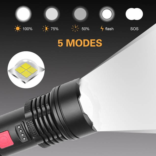 Retractable Focusing Flashlight Usb Rechargeable Built-in Lithium Battery Strong Light Outdoor Camping