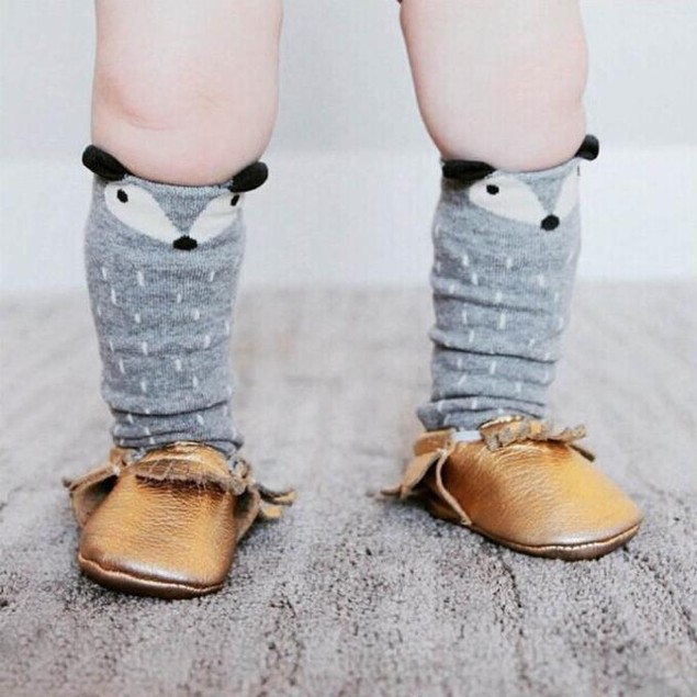Toddlers Kids Fox Pattern Knee High Socks