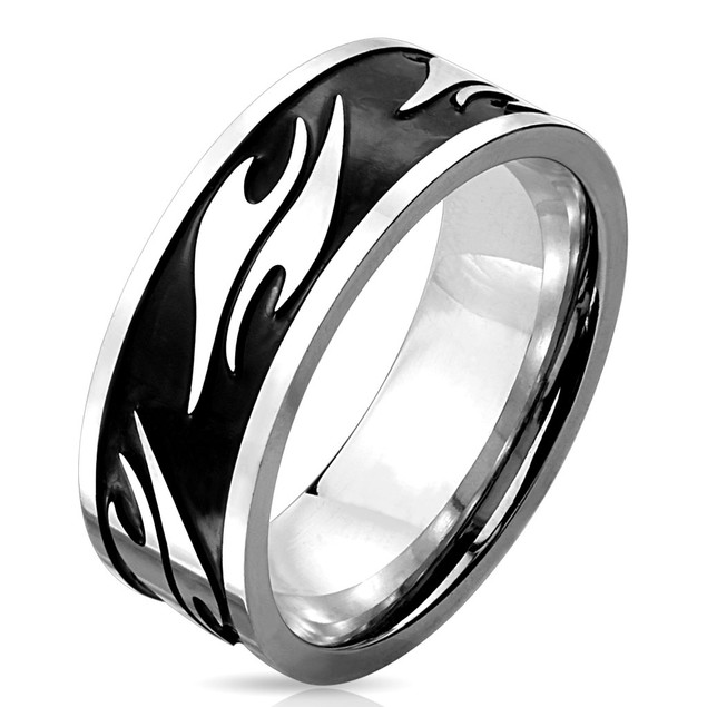 Tribal Pattern Black IP Stainless Steel Ring