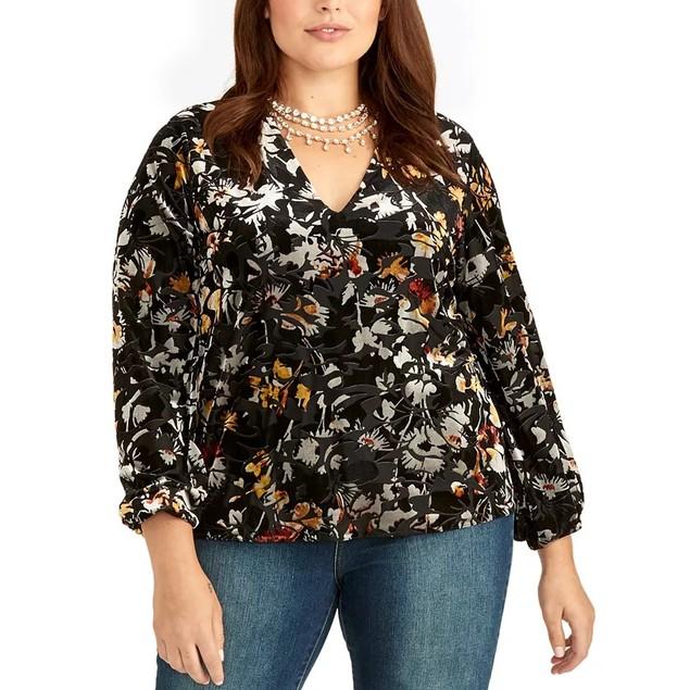Rachel Rachel Roy Women's Alma Floral Velvet Blouse  Black Size 1X