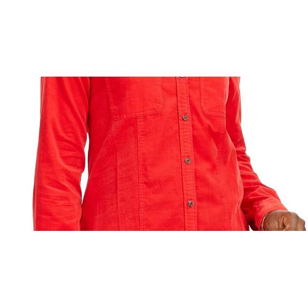 Charter Club Women's Solid Corduroy Shirt Medium Red Size X-large