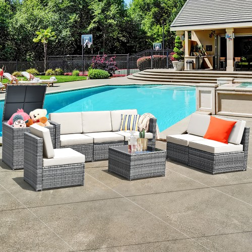 Costway 8 PCS Wicker Rattan Patio Sofa Set w/ Storage Table