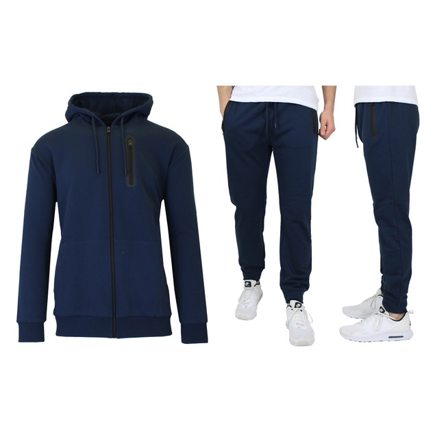 Men's Slim Fitting French Terry Hoodie & Jogger Set (Sizes, S to 2XL)