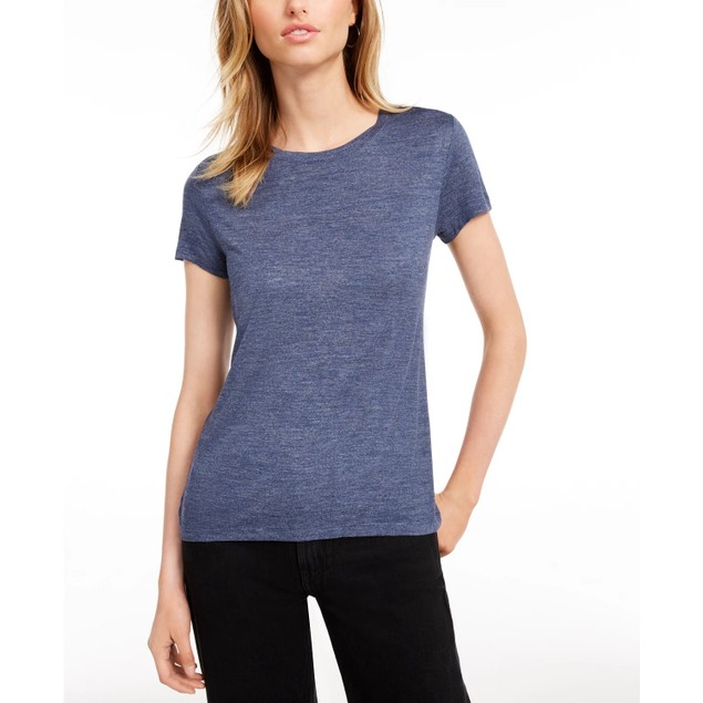 Maison Jules Women's Tie-Back Solid T-Shirt Dark Blue Size Extra Small