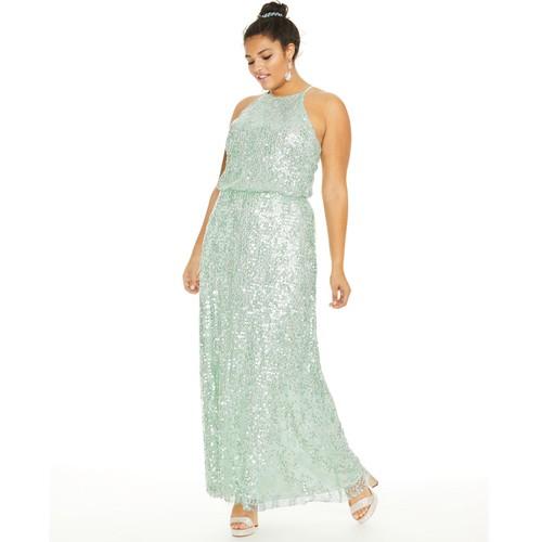 B.Darlin Women's Plus Trendy Plus Size Sequined Blouson Gown Mint Size 18 W