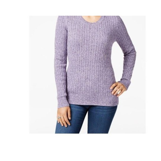 Karen Scott Women's Cotton Marled Knit Sweater Purple Size X-Small