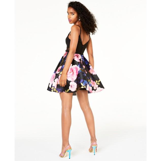 B Darlin Women's Juniors' Printed-Skirt Dress Black Size 11-12