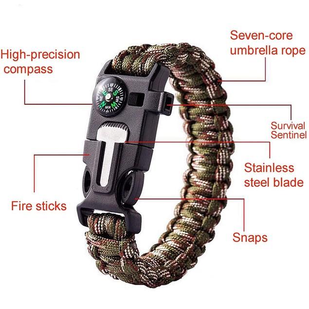 2 Pack: Paracord Bracelet Waterproof Outdoor Adjustable Survival Emergency