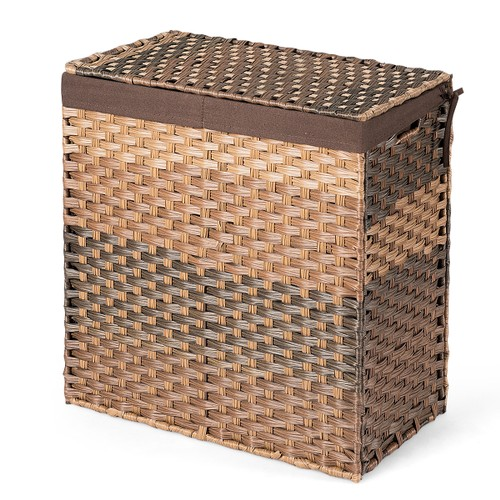 Costway Handwoven Laundry Hamper W/Removable Liner Bag Synthetic Rattan Bas