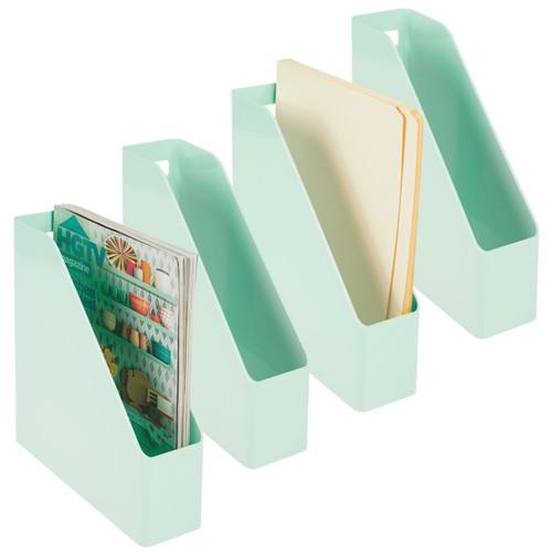 mDesign Plastic File Folder Bin, Office Desktop Organizer, 4 Pack