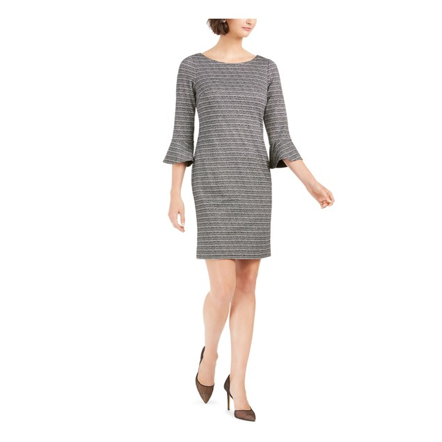 Jessica Howard Women's Striped Sheath Dress Grey Size 12 Petite