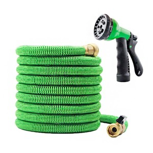 BIGTREE 50ft Expandable Collapse to 16' Garden Hose Easy High Pressure Water Spray Nozzle Garden Brass Connectors Green