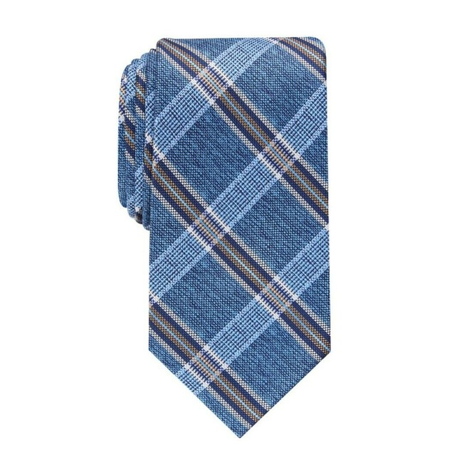 Perry Ellis Men's Dover Plaid Tie Navy Size Regular