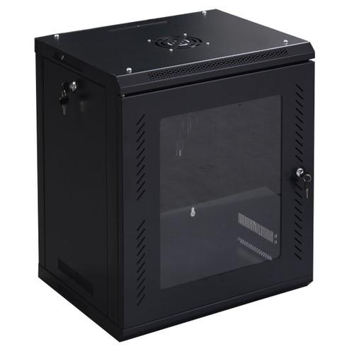 Costway 12U Wall Mount Network Server Data Cabinet Enclosure Rack Glass Doo