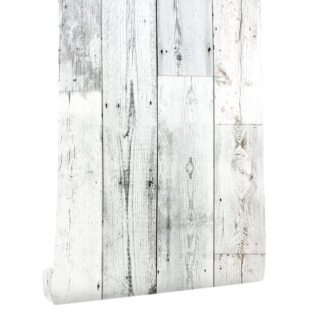 "Peel and Stick Wood Plank Wallpaper Self-Adhesive Shiplap Light Grey/White Distressed Wood Wall Decor 17.7""x 19.7ft"
