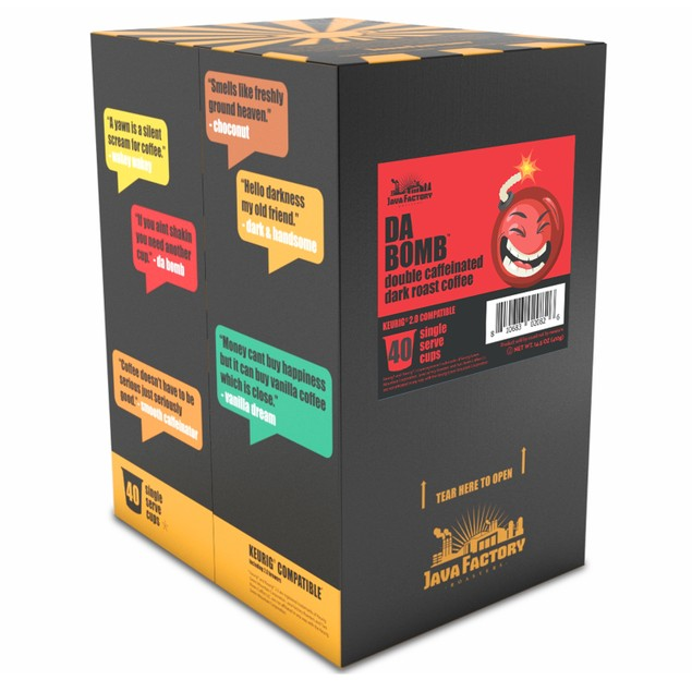Java Factory Extra Bold Double Caffeinated Coffee Pods, Da Bomb, 40 Count