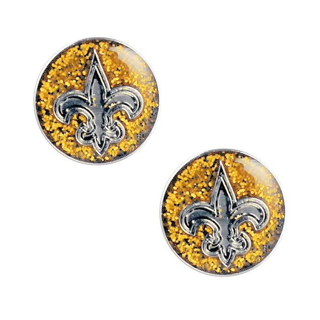 New Orleans Glitter Sparkle Post Stud Logo Earring Set Charm Gift